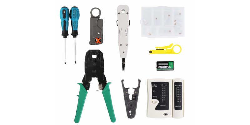 Componentes del kit de crimpadoras, pelacables y tester Fixkit barato baratos grimpadora cripadora barato baratos precio precios comprar